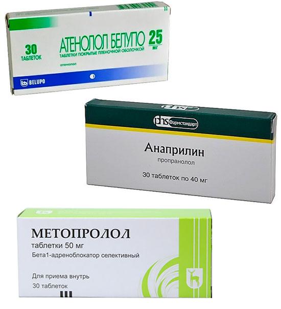 бета-адреноблокаторы Метопролол, Атенолол, Анаприлин