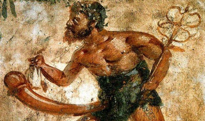 Изображение Приапа на фреске, найденной в Помпеях